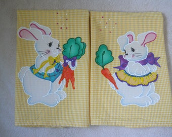 Set Of Easter Bunny Hand Towels, Set Of Easter Bunnies Sharing Carrots  Kitchens Towels,