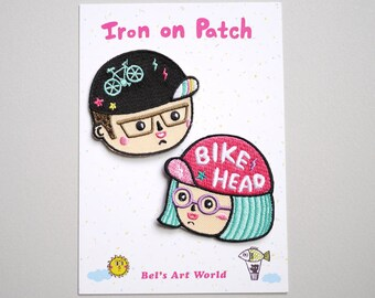 Limited offer - Bike Head Boy and Girl set Iron On Patches