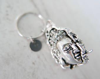 Half monster Half buddha Keyring, Half monster Half buddha keychain, stainless steel Keyring initial keychain