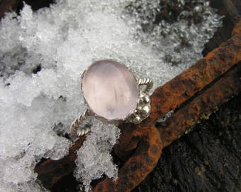 Sterling Silver Ring with Natural Rose quartz