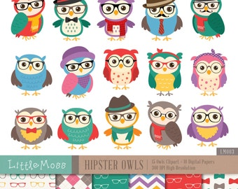 Hipster Owls Digital Clipart and Papers