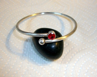 Ruby Silver Bangle bracelet - Eco friendly .925 sterling with threaded end for adding beads, Ethical lab ruby tube set 6mm - adjustable