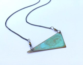 Verdigris Triangle Necklace