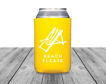 Neoprene Can Coolers, Personalized Coolies, Wedding Coolies, Beach Can Coolers, Custom Hugger, Bachelorette Can Coolers, Beach Please, 1366