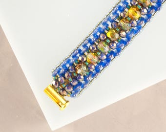 Funky Jewelry Gift for Her Dinosaur Jewelry Geometric Jewelry Art Deco Chartreuse Blue Bracelet Seed Bead Bracelet for Women Mom Gift