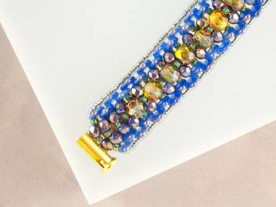 Funky Lime Green, Gold and Blue Spike Beaded Bracelet