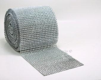 "SILVER Diamond Bling Mesh Rhinestone Crystal Ribbon ROLL (4.7"" x 1 yard or 10 yards bundle)"