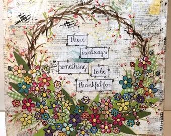 Thankful Mixed Media Wreath, Spring Color Wreath, Canvas Wreath, Floral Wreath