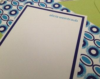 "beaded print notecard (navy blue), set of 25, 4"" W x 9.25"" H"