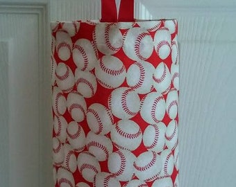 "Grocery Bag Holder, Plastic Bag Dispenser, Hostess Gift, Grab Bag Gift, ""More Baseballs!"""