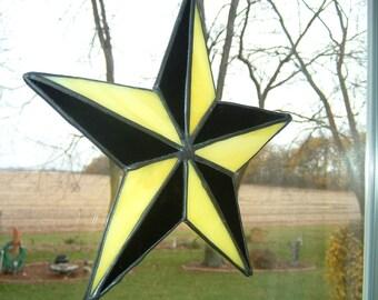 Yellow and Black Nautical Star Tattoo Sun Catcher
