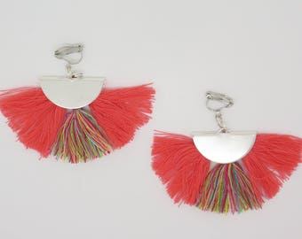 pair of earrings or ear clip pierced half moon and tassel gift mother's day, birthday...