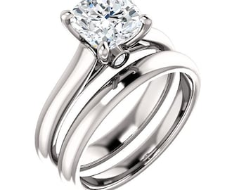 6.5mm FB Cushion  Moissanite Diamond Engagement Ring in 14k White Gold - ST797221 (Other stone options available) Certified Appraisal
