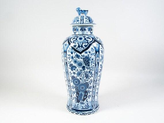 Delft Blue Vase Petrus Regout P Regout Ginger Vase Lidded