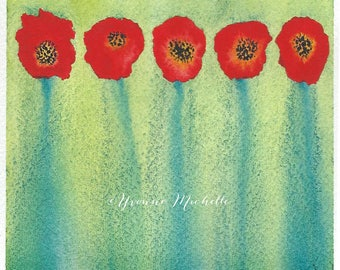 Poppies No. 006 - Original Watercolor Painting, Floral, Art, Wall Decor
