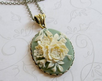 Green cameo necklace, womens gift, nature jewelry, long chain, cameo pendant, sage green, gift for her