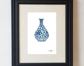 Asian Chinoiserie Blue and White Ming Floral Vase Print