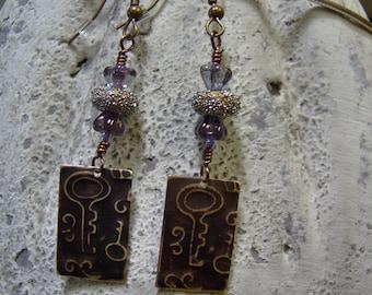 Embossed Brass Vintaj Vintage Key Style Artisan Lampwork Beaded Earrings-SRAJD