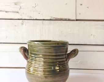Vintage handmade green ceramic crock   pottery   ceramic vessel   kitchen utensil holder