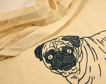 Tote bag pug with diaper Hand silkscreen printed