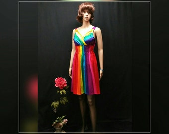 Rainbow women smock sundress, gay color dress, boho gypsy sundress, smock mini dress, gay pride festival dress, rainbow tunic top, LGBT