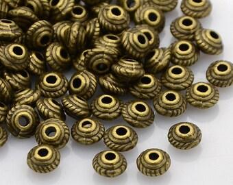 Antique Bronze Tibetan Style Bicone Spacer Beads 5mm x 3mm