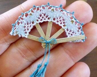 Miniature Bobbin Lace Fan Blue