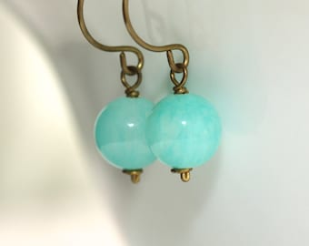Jade Earrings * Aqua Earrings * Blue Earrings * Blue Jewelry * Light Blue Earrings * Bridesmaid Earrings * Earrings Blue...*Meant To Be Not*