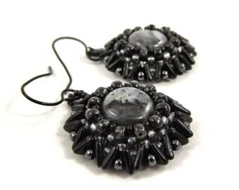 Black and Gray Beadwork Earrings, Beautiful Gemstone and Seed Bead Jewelry