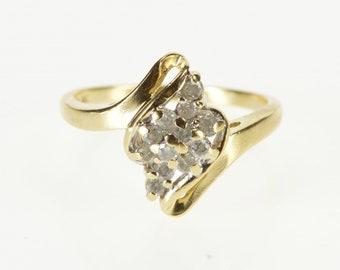 10K Diamond Cluster Wavy Curvy Freeform Bypass Ring Size 6 Yellow Gold