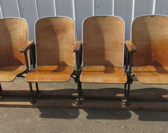 Row of 4 Theater Chairs, Theatre Seats or Movie Seats. Entryway, Man Cave or Entertainement room Wood Iron Wooden Folding Cinema Seats