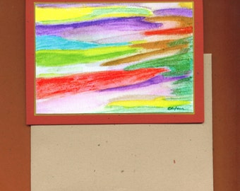 Watercolor Number Four Blank Art Note Card