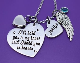 Cremation Memorial Jewelry Necklace - Urn -I'll hold you in my heart until i hold you in heaven - Memorial Jewelry - Loss of Loved One Keeps
