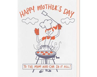 Letterpress Mother's Day Card, Barbeque Mom, Mom Retro Girl, Funny Mother's Day, 50s 60s, hand lettering, hand drawn, red, purple, MDM03