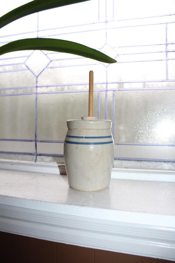 Antique Buttern Churn Stoneware Churn Blue Striped One Quart
