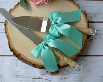 teal wedding cake server, rustic cake cutter, gifts for the bride, beach wedding decor, shabby chic reception, serving and dining knives