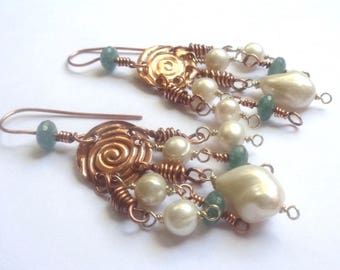 Chandelier earrings in antiqued copper, pearls and Chrysocolla