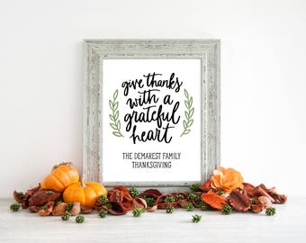 Personalized Thanksgiving Signage, Thanksgiving Sign Decor, Give Thanks Sign, Friendsgiving Sign, Table Signage, Thanksgiving Table
