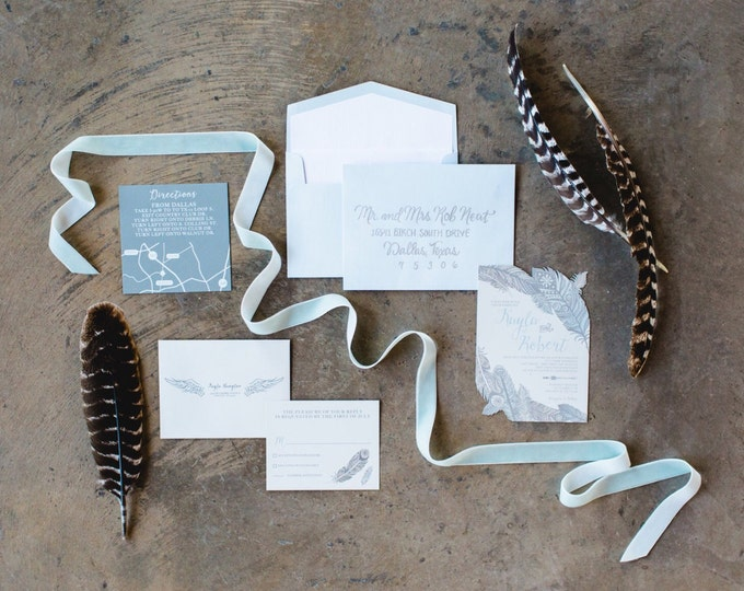 5x7 Cut Out Feathers Navajo Wedding Invitation with Directions & RSVP, Envelope Liner, Return Address Printing
