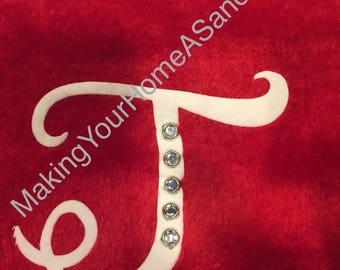 Monogrammed and jeweled Christmas stocking