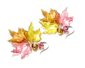 Fall Leaf Earrings in Silver or Gold Swarovski Crystals Autumn Color Maple Leaves Halloween Jewelry Gift Golden Honey Amber Topaz Brown Rose