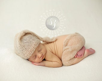 Beige Mohair Knot Hat and Shorts Set Newborn Baby Photography Prop