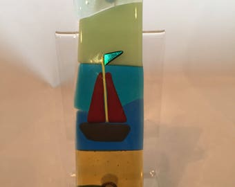 Small fused glass wall hanging with sailing boat