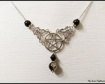 Pentacle choker collar necklace pentagram wiccan pendant five-pointed star witch necklace witchcraft pagan jewellry