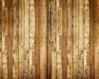 Grunge Rustic Wood Backdrop - vintage bright planks wooden floor newborn - Printed Fabric Photography Background w0996