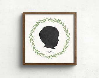 custom silhouette print with botanical wreath, silhouette portrait, gift for mom, mothers day gift, rustic art, custom farmhouse art