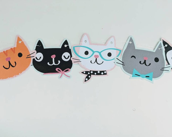 Kitty Banner, Kitty Cat Birthday Banner, Cat Banner, Cat Party Decorations, kitty party supplies, kitty cat birthday, Cat Birthday Party