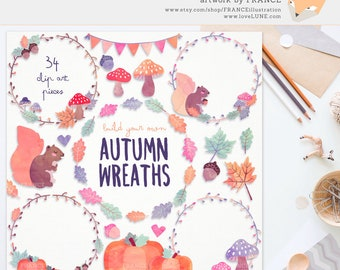 3 FOR 2. Watercolor Autumn Clipart Wreaths. Watercolour Leaves, Mushrooms, Pumpkin. Kawaii Thanksgiving Pastel Digital Fall Florals Bunting.