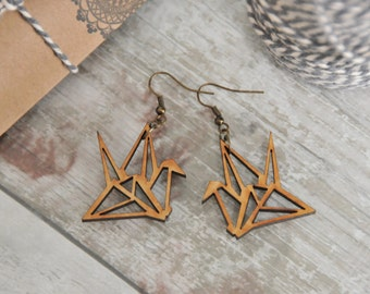 Wooden Origami Crane Earrings, wooden earrings, lasercut jewellery, bird earrings, bird gifts