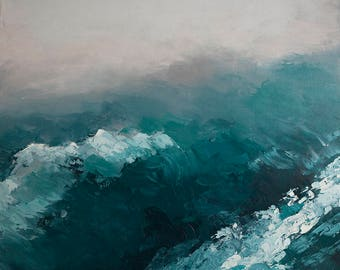 Blue Waves #2-  Original oil painting on canvas by Lauriann Wakefield  of Bear Lake